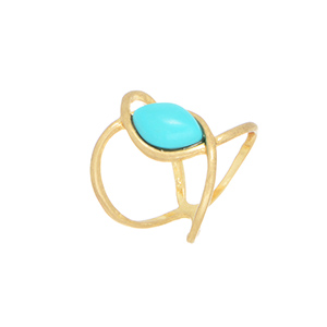 Size 4 Worn gold tone knuckle style ring featuring a turquoise tone cabochon.