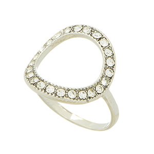 Silver tone knuckle ring featuring a round shape open cut with pave stones. One size only. Not adjustable.