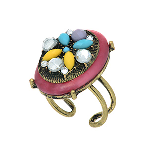 Burnished gold tone adjustable ring featuring an fuchsia stone with clear, yellow, blue, and purple rhinestone decor.