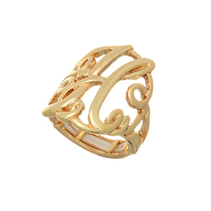 Gold tone stretch ring with the initial H.