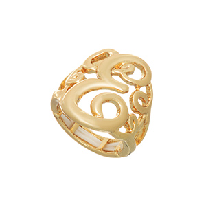 Gold tone stretch ring with the initial E.