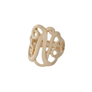Gold tone stretch ring with the initial N.