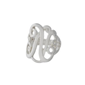 Silver tone stretch ring with the initial N.