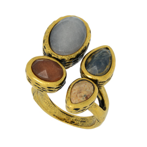 Burnished gold tone adjustable ring featuring gray and brown stones.