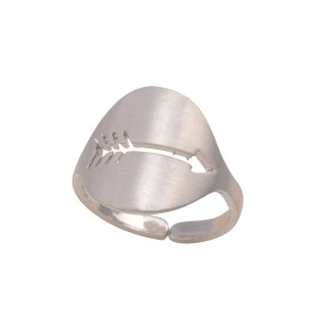 Silver tone adjustable ring featuring a cutout arrow.