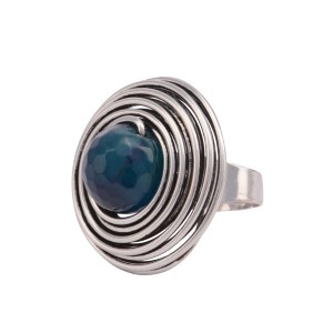 Silver tone adjustable ring featuring a wrapped wire with a teal stone focal.
