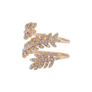 Gold tone ring with a rhinestone leaf. Size 8 only.