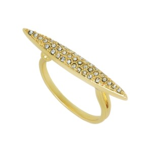Gold tone adjustable ring featuring a pointed pave bar.