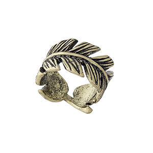 Burnished gold tone wrapped feather ring. Size 7 only.