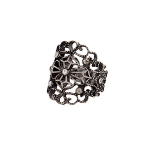 Burnished silver tone stretch ring with a filigree design and clear rhinestones.