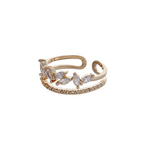 Gold tone adjustable ring with clear rhinestones.