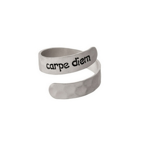 "Hammered silver tone, adjustable ring stamped with ""Carpe Diem."""