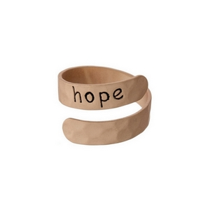 "Hammered copper tone, adjustable ring stamped with ""Hope."""