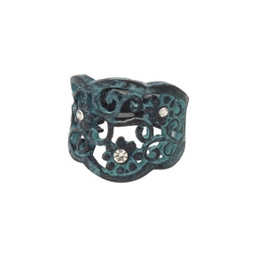 Patina stretch ring with a floral pattern, accented by clear rhinestones.