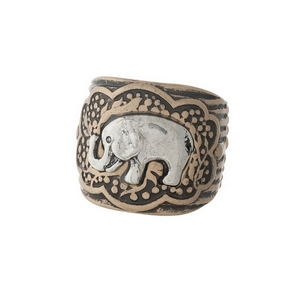 Burnished gold tone, stretch ring with a silver elephant focal.