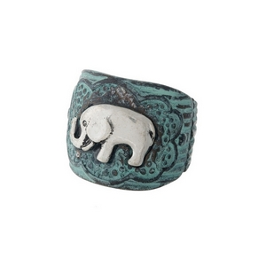 Patina stretch ring with a silver elephant focal.