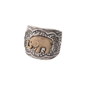 Burnished silver tone, stretch ring with a gold elephant focal.