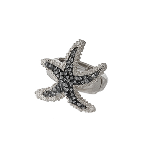 Silver tone starfish, stretch ring.