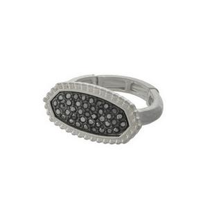 Silver tone stretch ring with hematite rhinestones.