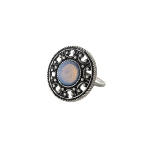 Silver tone ring with a white opal stone focal. One size - approximately a size 7.