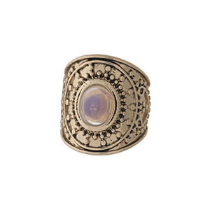 Gold tone bohemian ring with an opal stone. Ring is one size and not adjustable, approximately a size 7.
