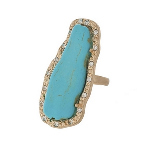 """Matte gold tone adjustable ring featuring a turquoise stone, accented by clear rhinestones. Stone measures approximately 2"""" in length."""