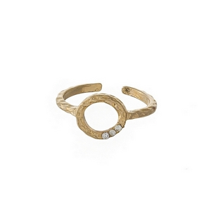 Hammered brass, gold tone, adjustable ring with a circle focal, accented with three small rhinestones.
