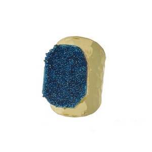 Hammered, gold tone adjustable ring with a blue druzy stone focal. Handmade in the USA.