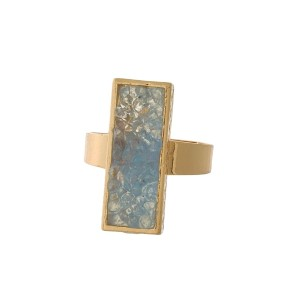 Gold tone ring with a light blue faux druzy stone. Adjustable in size.
