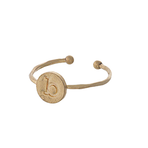 Gold tone adjustable initial ring.