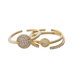 Gold tone, three piece adjustable ring set with clear pave rhinestones.