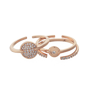 Rose gold tone, three piece adjustable ring set with clear pave rhinestones.