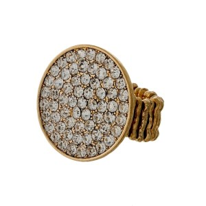 Gold tone stretch ring with pave rhinestones.