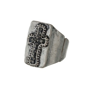 Burnished silver tone metal stretch ring with a crushed hematite cross.