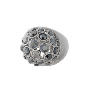 Silver tone ring with a hematite rhinestones. One size - size 9.