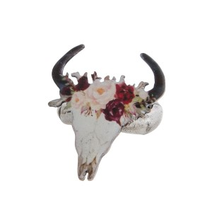 Burnished metal, stretch ring with a steer head focal and floral crown.