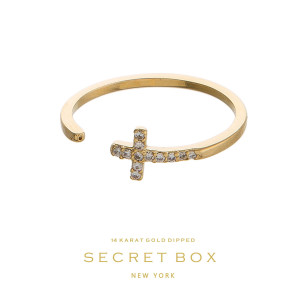 Secret Box 14 karat gold over brass, open, cross ring. Adjustable in size.