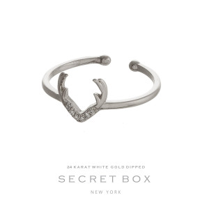 Secret Box 24 karat white gold over brass, open, antler ring. Adjustable in size.