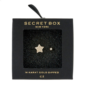 Secret Box 14 karat gold over brass, open, star ring. Adjustable in size.