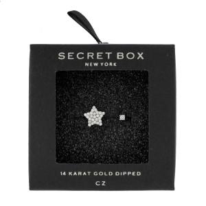 Secret Box 24 karat white gold over brass, open, star ring. Adjustable in size.