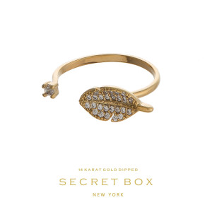 Secret Box 14 karat gold over brass, open, feather ring. Adjustable in size.