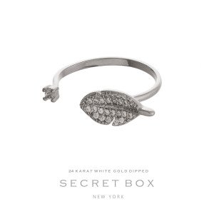 Secret Box 24 karat white gold over brass, open, feather ring. Adjustable in size.