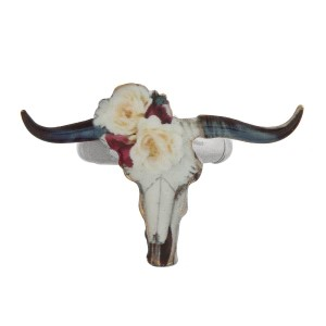 Metal stretch ring with a floral print steer head.