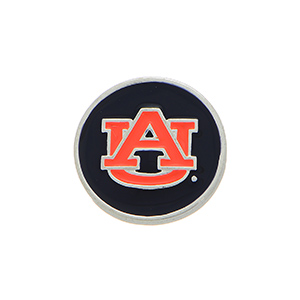 """Silver tone officially licensed Auburn University snap charm stamped """"AU"""". Snap jewelry collection."""