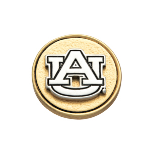 Matte two tone officially licensed Auburn University snap charm. Snap jewelry collection.