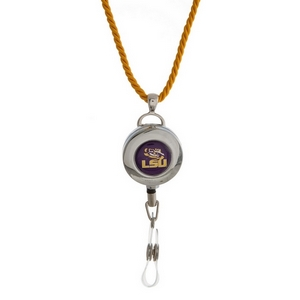 """Officially licensed LSU lanyard and ID holder with a break-away cord. Approximately 32"""" in length."""