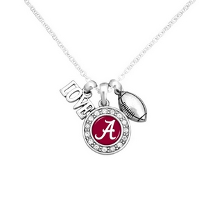 """Officially licensed 16"""" Silver tone chain necklace featuring a cluster pendant with a """"Love"""" and football charm and a round Alabama logo surrounded with crystal clear rhinestones."""