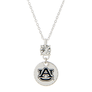 """Silver tone necklace with an officially licensed rhinestone and an Auburn University pendant. Approximately 18""""in length."""