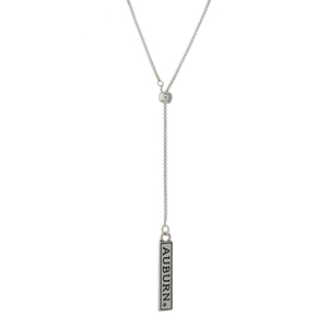 "Officially licensed, silver tone 'Y' necklace with a bar pendant stamped with ""Auburn."" Adjustable up to 28"" in length."
