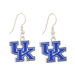 "Silver tone officially licensed fishhook earrings featuring The University of Kentucky logo. Charm approximately 3/4"" in length. Overall length 1 7/16""."